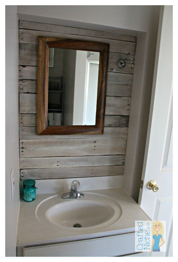 Beachy rustic bathroom from with planked for Pallet shower wall