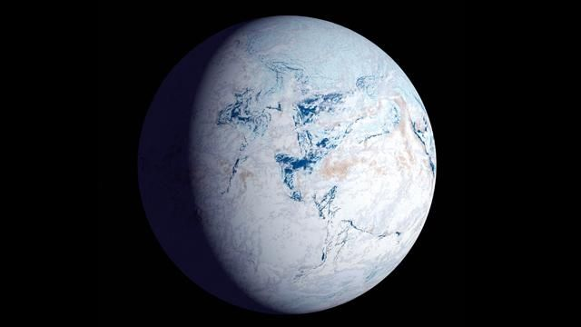 Snowball Earth describes a theory that for millions of years the Earth was almost entirely or wholly covered in ice, stretching from the poles to the tropics.
