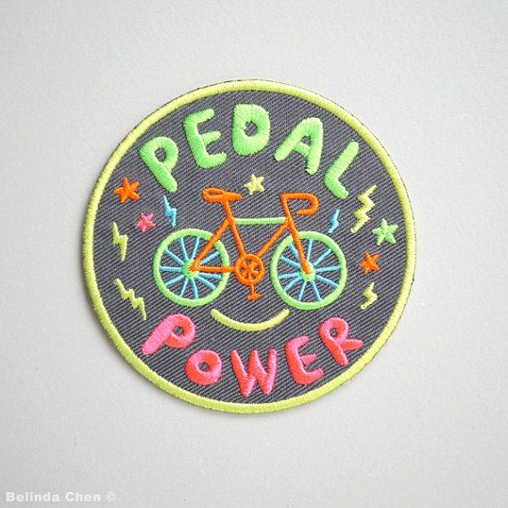 Pedal Power - Bike Iron On Patch