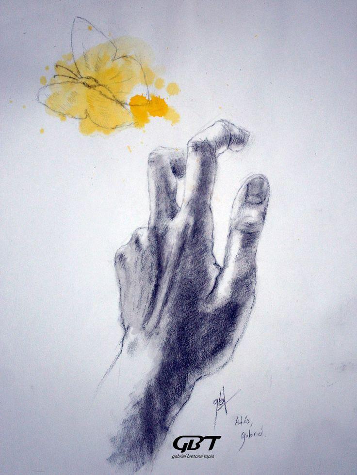 Adiós, Gabriel. Ahora al ver mariposas amarillas me acordaré de ti y de tu Macondo mágico. Tinta, acuarela y carboncillo. A3, 2014