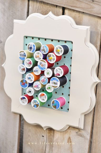 Framing a pegboard - such an easy idea for spools, jewelry etc.