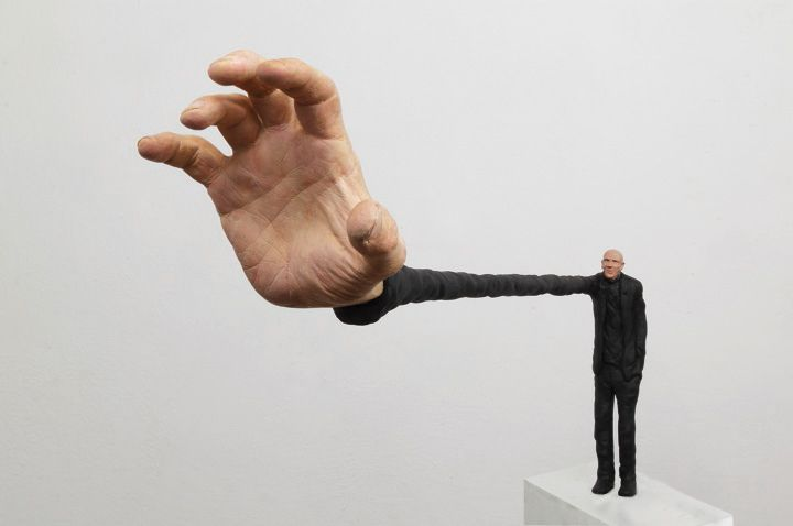 """Neither too much nor too little"", Argentinian artist Gerardo Feldstein creates whimsical and bizarre mixed media sculptures based on the human figure."