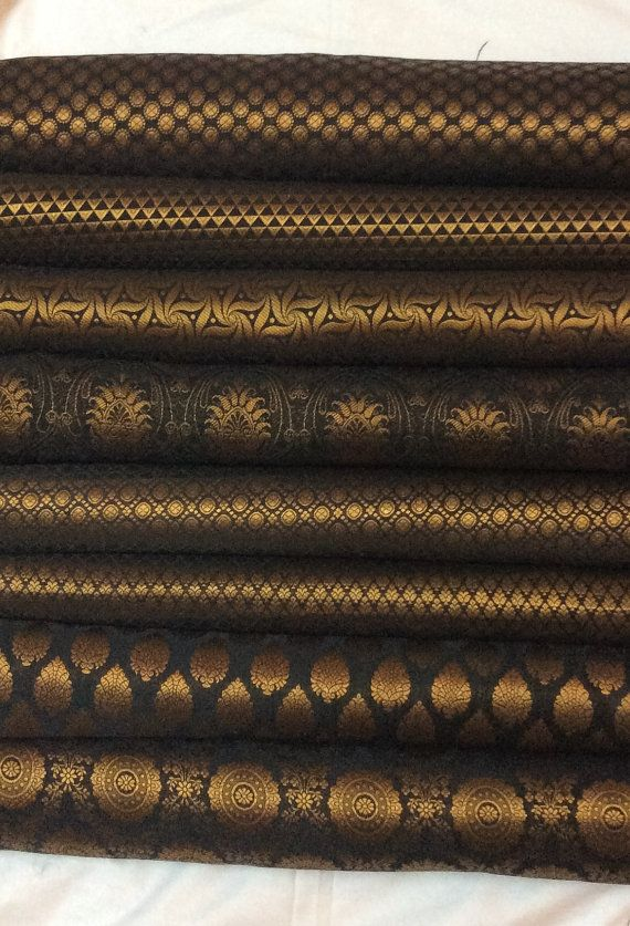 Bundle of Black Indian silk brocade fabric set by EverythingIndian