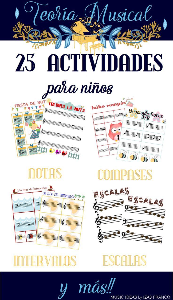 25 actividades de teoría musical para niños con ideantificación de notas, intervalos, compases, tonos y semitonos, escalas.