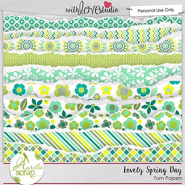 """Torn Papers """"Lovely Spring Day"""" by Aurélie Scrap. Colors which bring up spring... It contains : 10 torn papers"""