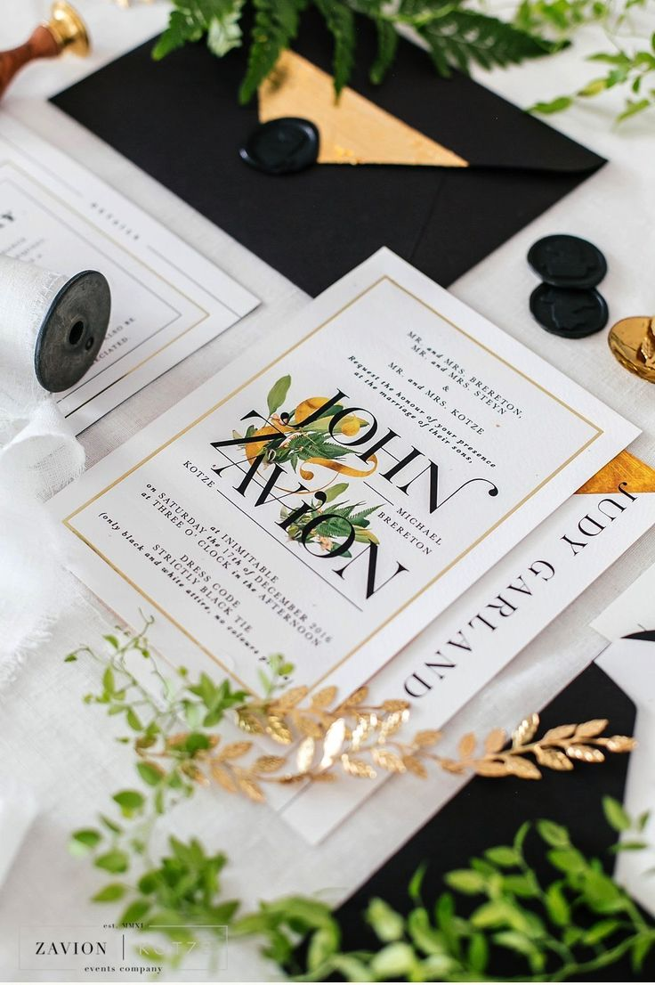 Elegant black, gold and white wedding stationary, best wedding stationary, black wedding invite. Invites by Chrystalace - the best wedding stationary company in South Africa