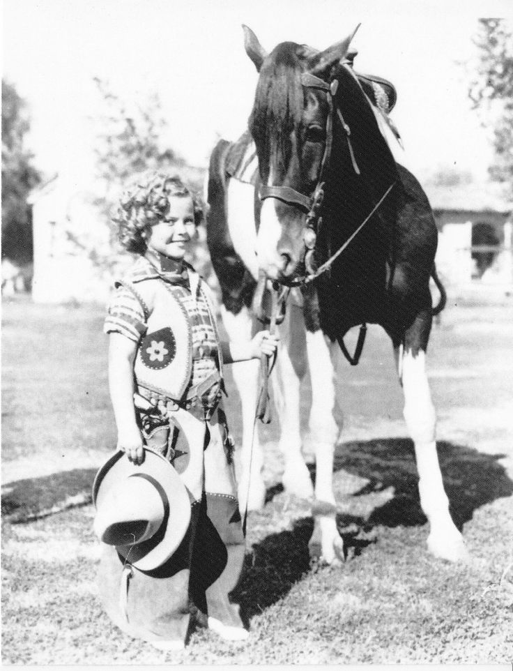 """Shirley Temple Little Western Cowgirl and Pinto Pony """"Patches"""" Horse Postcard 