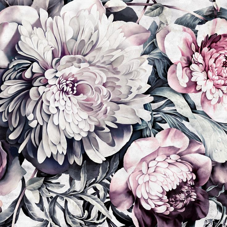 Dark Floral II Sanded Fresco Floral Wallpaper by Ellie