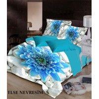 Else Mavi Çiçekli Taşlar Çift Kişilik 3D 3 Boyutlu Baskılı Nevresim Takımı