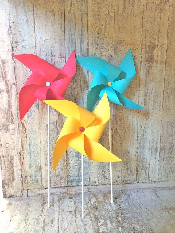 Pinwheels - Big Top - Set of 6 Pinwheels - Aqua Red and Yellow - Carnival Party - Wedding - Curious George