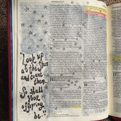 Stars, Abraham and Sarah. Bible journaling. Draw close Blog