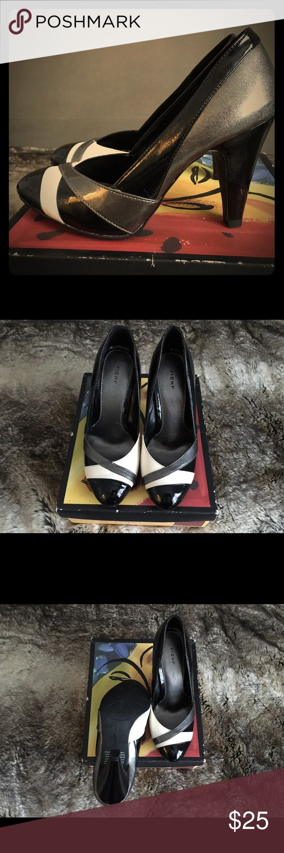 """Women's Fioni 'Johnny' Colorblock High Heel Pumps Brand new with box Fioni 'Johnny' high heel pumps pairs well with everything in its neutral colors of metallic gunmetal, white, and black. 3-1/2"""" high heels. FIONI Clothing Shoes Heels"""