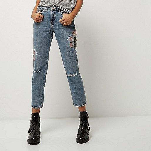 Light wash embroidered cigarette jeans - boyfriend / slouch jeans - jeans - women
