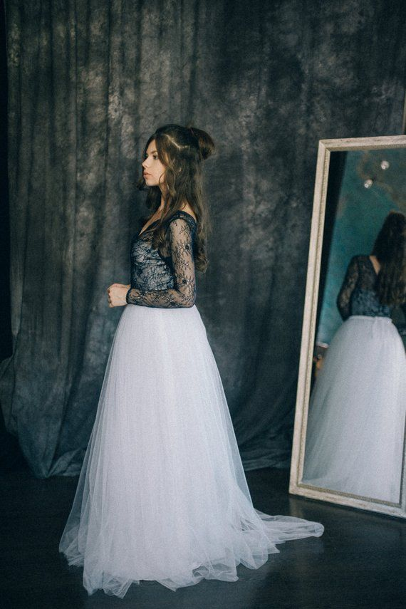 2990ddac9 Black and white wedding dress - Navy blue wedding dress - Colored ...
