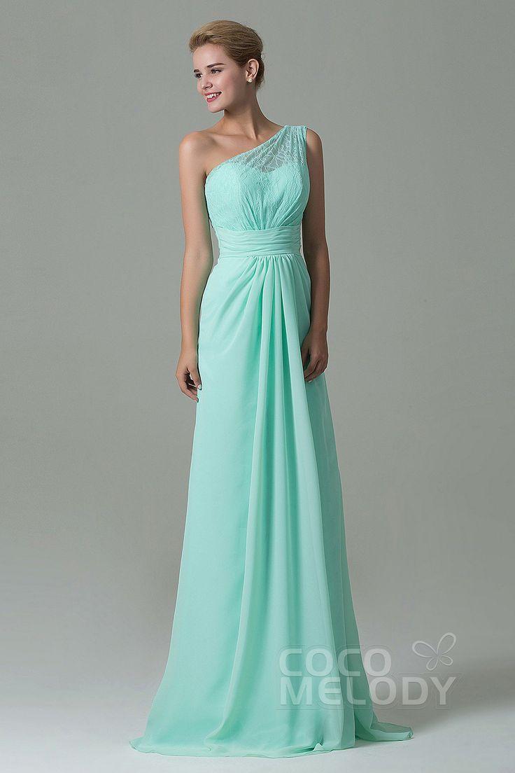 Charming Sheath-Column One Shoulder Natural Floor Length Lace/Chiffon Light Green Sleeveless Side Zipper Bridesmaid Dress #cocomelody #weddingdresses