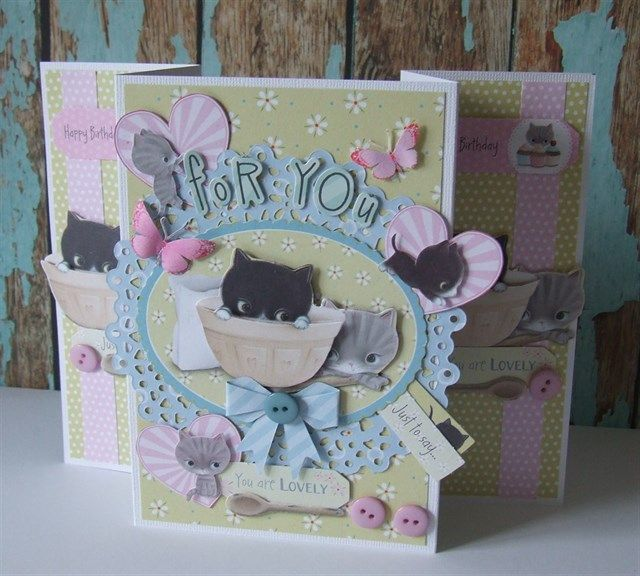 Handmade 'For You' card made using the Little Meow collection. Purrfect for cat fans!