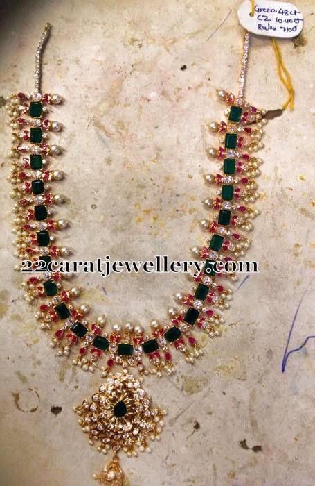 Jewellery Designs: 85 Grams Emeralds Pearls Set