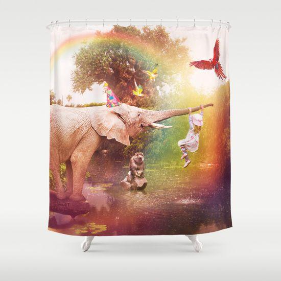 The Jungle Book Shower Curtain  www.shaynart.com  #elephant #girl #joy #love #child #children #happy #happiness #positive #energy #rainbow #childhood #thejunglebook #jungle #scene #red #pink #purple #violet #green #blue #colorful #parrots #birds #shaynart