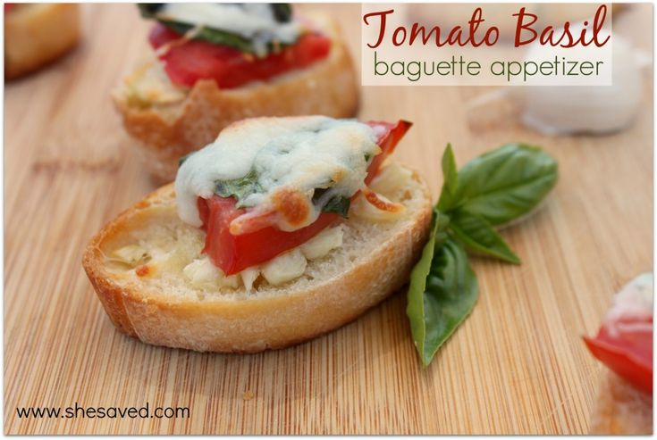 These easy Tomato Basil Baguette Appetizers are quick to whip up and full of flavor. I love them because they are a great way to use up some garden goodies!