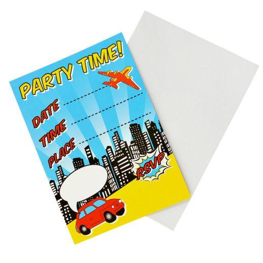 Einladungskarten- Pop Art Superhero