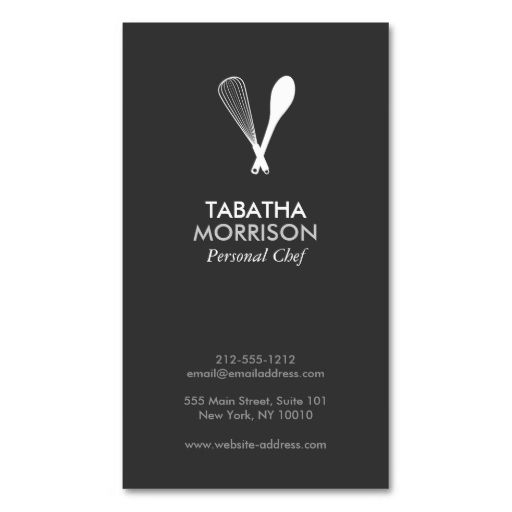 MODERN WHISK and SPOON on DK GRAY Business Card. I love this design! It is available for customization or ready to buy as is. All you need is to add your business info to this template then place the order. It will ship within 24 hours. Just click the image to make your own!