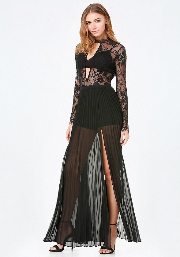 Smashing gown in a sheer floral lace. Sweeping pleated skirt with sexy slit. Convenient padded bra and attached shorts flaunt skin and curves. Dress has back neck button-loop closures and hidden back hook-and-eye and zip closure. Bra has adjustable back hook-and-eye closures.