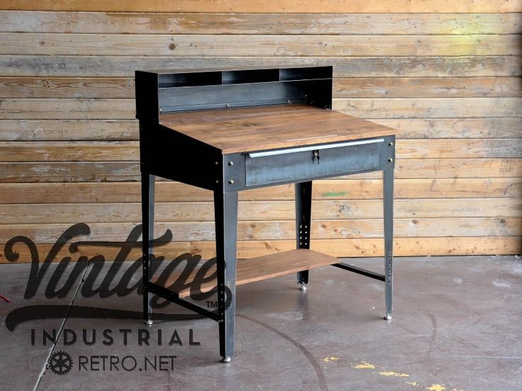 40 W x 27 D x 40 T (48 T with cubby)  Steel glides for feet  Adjustable lower shelf which doubles as a footrest  Large locking drawer  Solid hardwood top and shelf  Brass hardware  Optional storage cubby up top  Pencil holder cut into the top  Vintage patina
