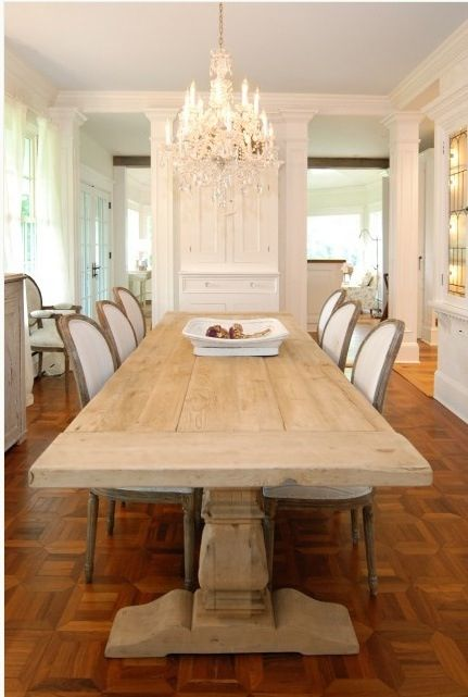 This Dining Room Features Restoration Hardware Coffee Table, The Beautiful  Chandelier, And The Chairs Covered In Linen. How Chic!