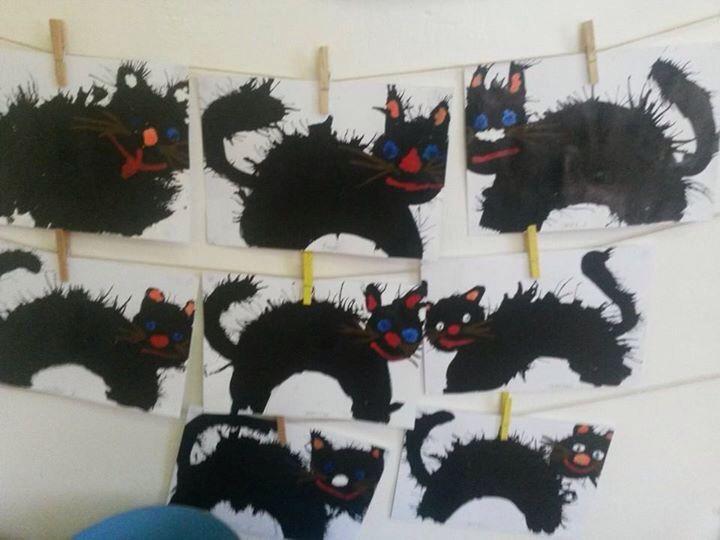 Kočky-foukání do barvy