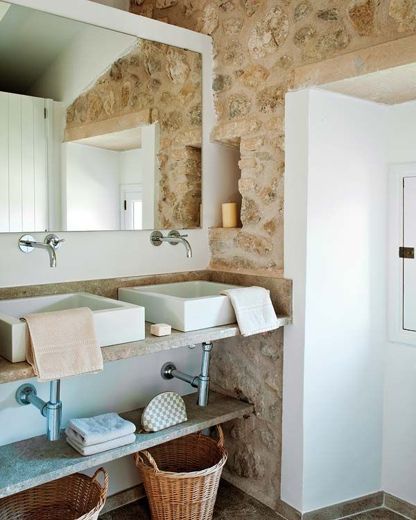 bathroom modern and rustic | Mallorca Country House