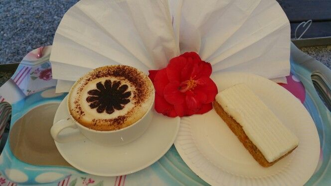 Coffee, cakes and flowers