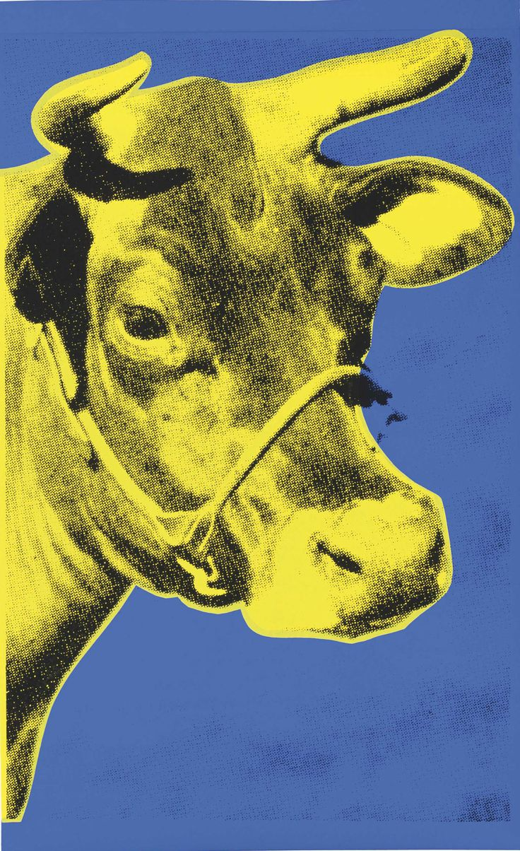 Andy Warhol - Cow II.12   The Cow series was printed after Andy Warhol's exhibition at the Leo Castelli Gallery, which inspired the creation of the wallpaper. This screenprint, Cow 12, is detailed with a yellow foreground against an electric blue background.