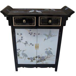 buffet chinois laqu temple noir et argent avec grues meuble chinois chinoise et chine. Black Bedroom Furniture Sets. Home Design Ideas