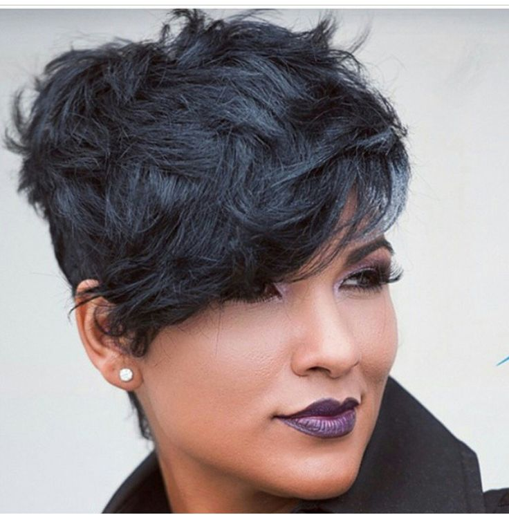 Short pixie black hair on African American (Black) female
