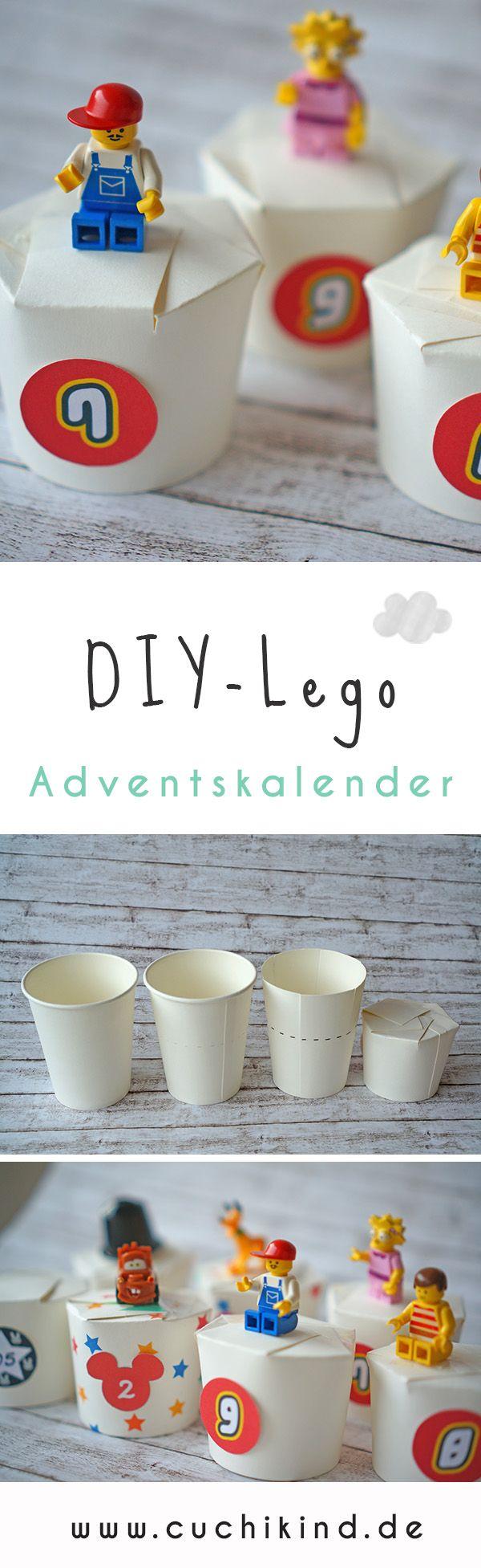 Selbstgemachter DIY-Adventskalender aus Pappbechern und Lego-Figuren. Inklusive kostenlosem Printable zum Runterladen. Alle Legozahlen zum Ausdrucken. #lego #adventskalender