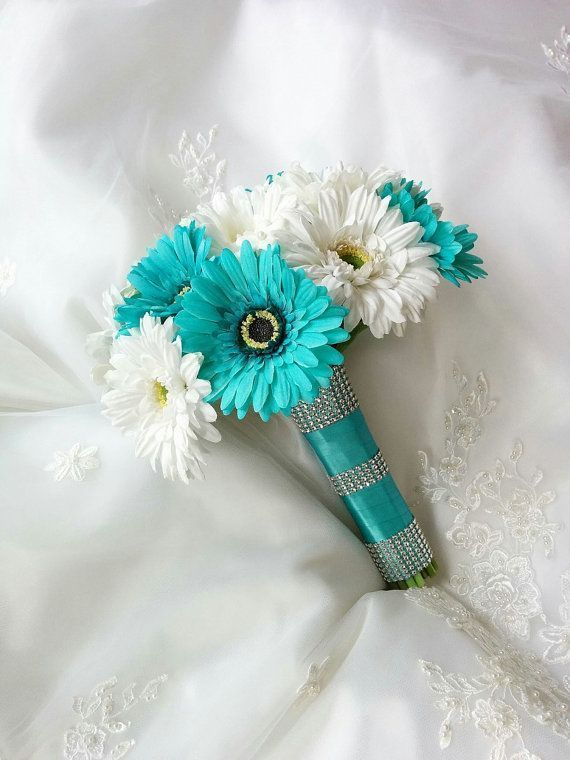 Silk wedding bouquet Aruba Turquoise Aqua Blue and White Gerbera Daisies with…