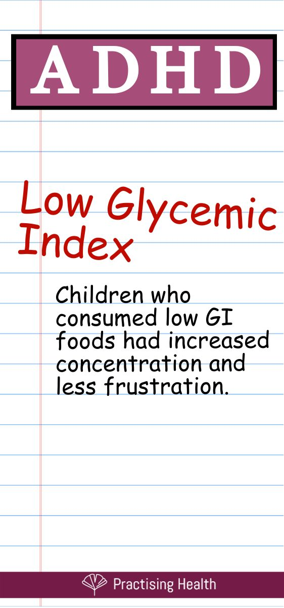 Low G.I foods for ADHD
