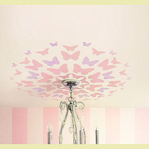 Stencil Butterfly Medallion, Great for Nursery ceiling, Reusable stencils for easy DIY decor by CuttingEdgeStencils on Etsy https://www.etsy.com/listing/82339427/stencil-butterfly-medallion-great-for