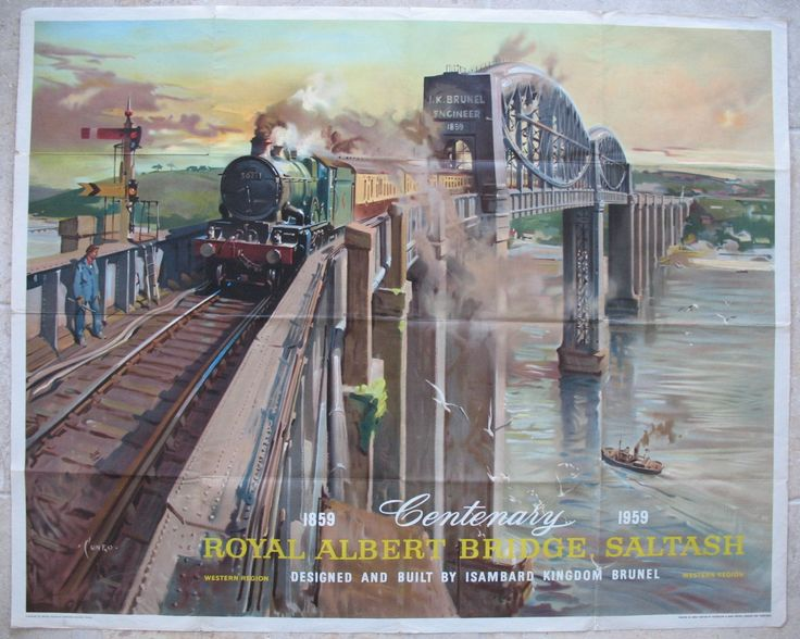 """Royal Albert Bridge, Saltash - Centenary 1859-1959, by Terence Cuneo. A wonderful poster of the Royal Albert Bridge over the River Tamar, separating Devon and Cornwall. We see former Great Western Railway """"Castle"""" class steam locomotive No 5021 'Whittington Castle', with a chocolate and cream train on Brunel's complex and distinctive bridge, in this masterly painting by Cuneo. Original Vintage Railway Poster sold by originalrailwayposters.co.uk"""