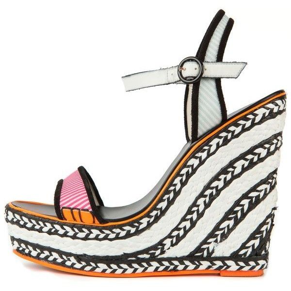 Pre-Owned Sophia Webster 41 Black and White Braided Wedge Sandal With... ($238) ❤ liked on Polyvore featuring shoes, sandals, black, neon sandals, sophia webster shoes, black high heel sandals, black white sandals and high heel shoes