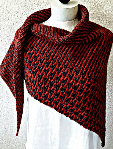 The Rusted Roof Shawl combines mosaic knitting with cushy garter stitch stripes. $, mosaic pattern