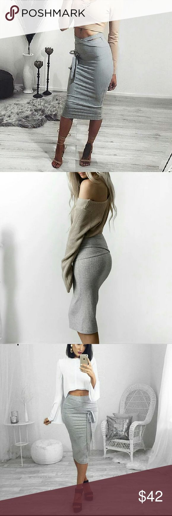 Belt grey bandage wrap skirt Elastic bodycon pencil skirt with a fun belt that you can tie on your own way. Slim fit Skirts Pencil