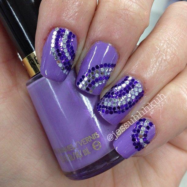 Purple Glitter Placement Mani  @ jessuhhhkuh