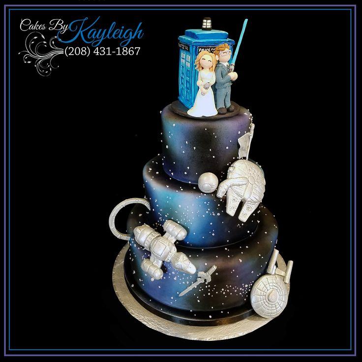 Awesome Fandom Wedding Cake.  All hand crafted fondant toppers.  Dr. Who Wedding cake topper.  Star Wars, Stargate, Star Trek, Zelta, Serenity, Pokemon, Harry Potter.