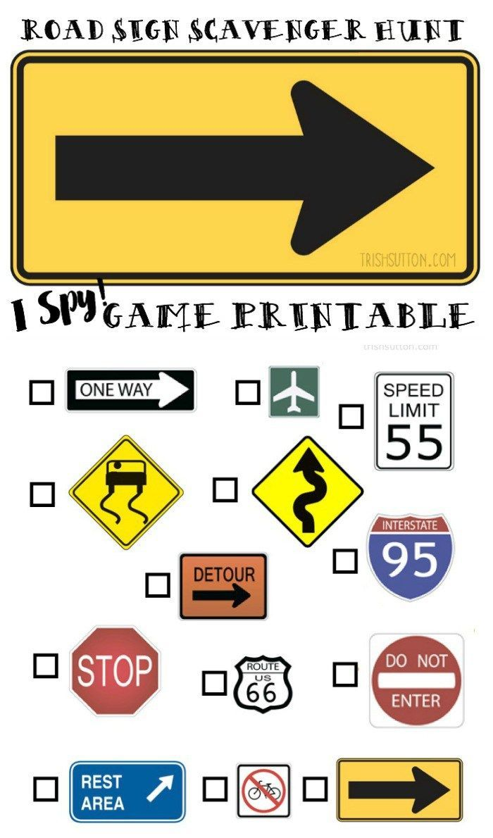 55 best road signs images on pinterest games kid stuff and road sign scavenger hunt i spy game printable robcynllc Images