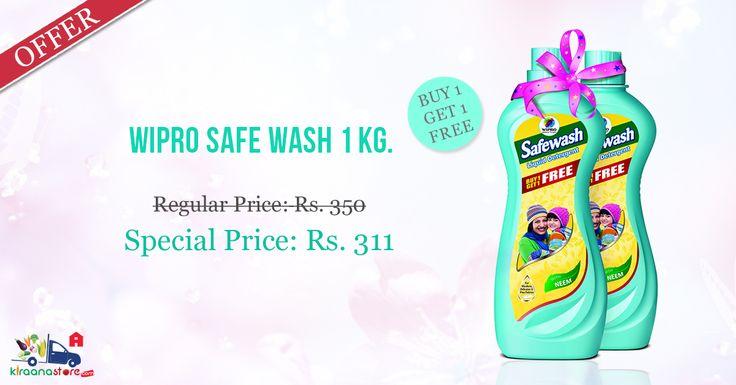 Buy 1 Get 1 Free ! #Wipro #Safe #Wash 1 Kg @ discounted price on Kiraanastore.