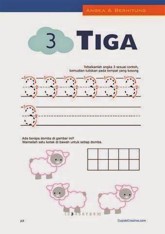 belajar angka paud (anak balita/TK), berhitung 1-10, mewarnai gambar domba