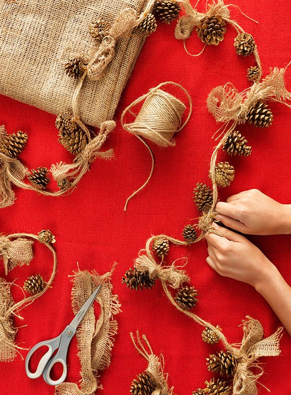 Tie gold-painted pinecone ornaments onto a string of twine, then top each off with a burlap bow for a simple, beautiful holiday garland. Description from ethnicgarden.net. I searched for this on bing.com/images