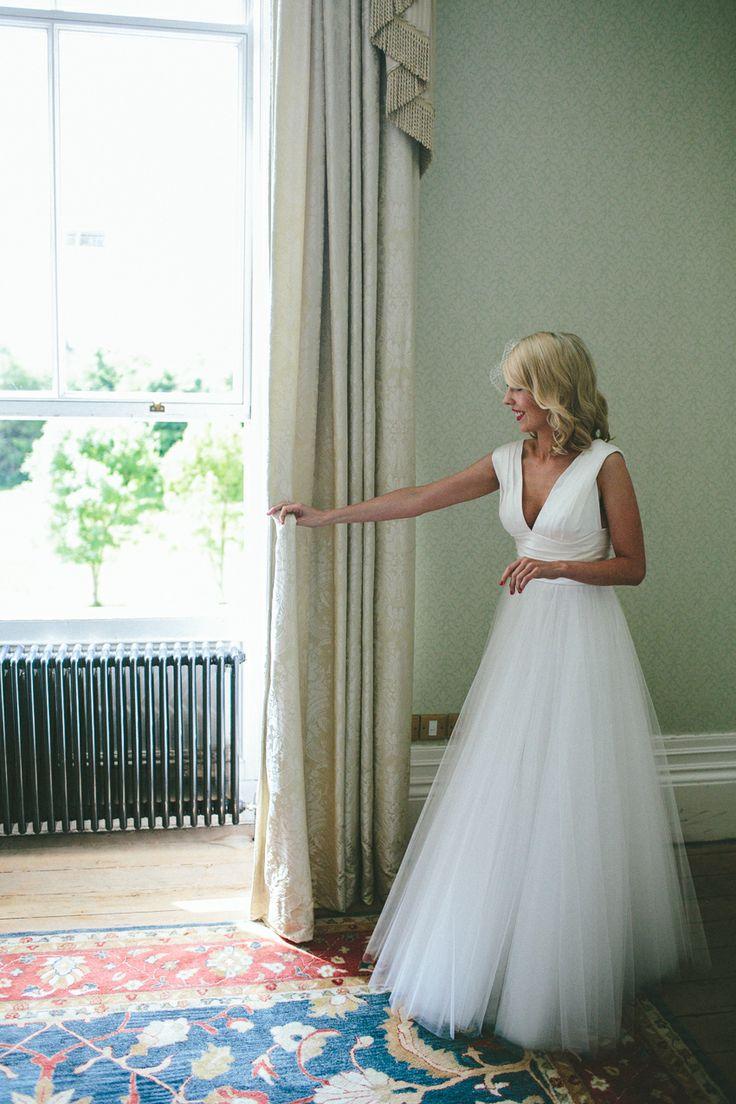 White Tulle wedding dress, Middleton Park House. Ireland. Vintage Bride.  David Fielden Wedding Dress.