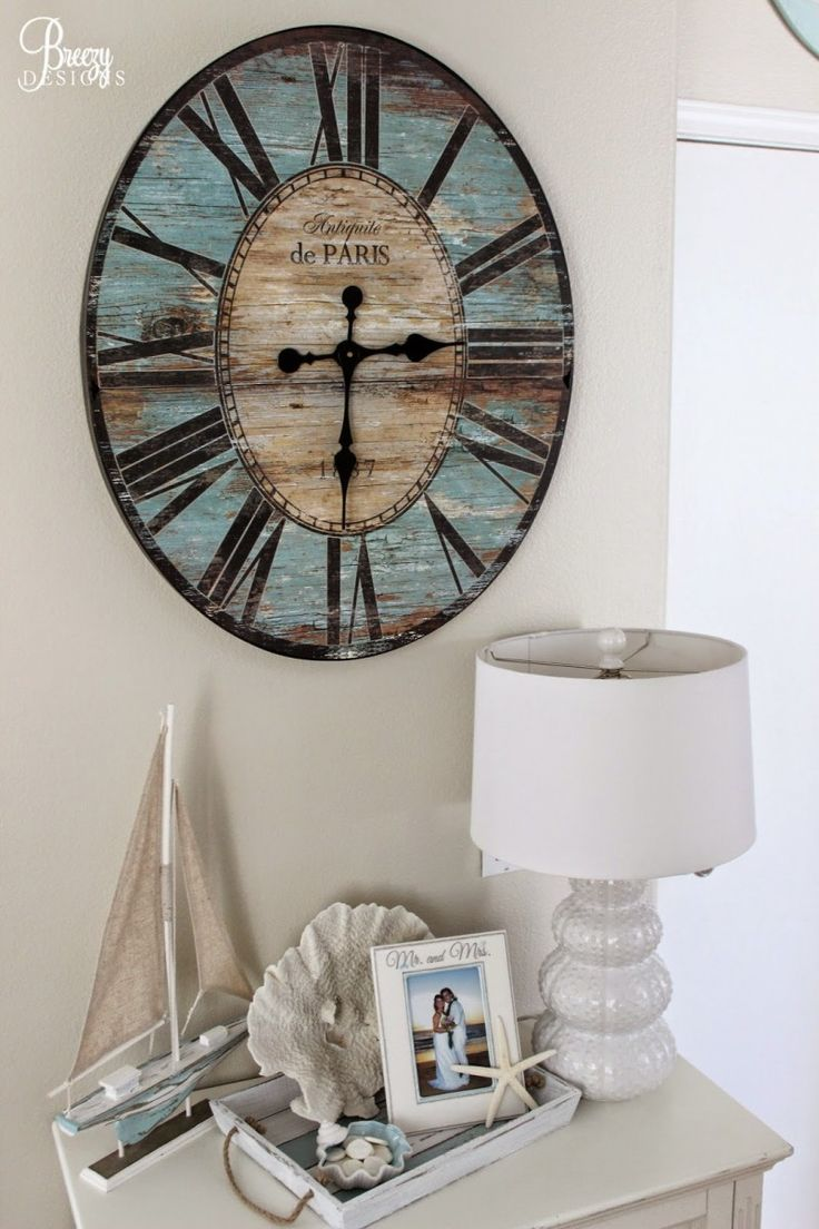 Best 25 giant wall clock ideas on pinterest huge clock big beach chic coastal cottage home tour with breezy design wall clock amipublicfo Images